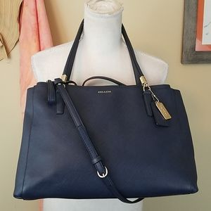 Coach Madison Christie Navy Leather Carryall Purse